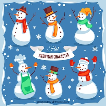 Pack of snowmen with winter accessories