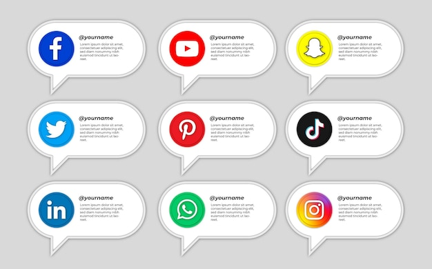 Pack of social media icons with bubbles text