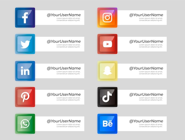Pack of social media icons with shapes