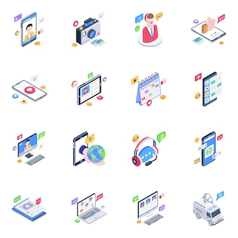 Pack of social media isometric icons