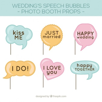 Pack of speech bubbles for wedding photo booth