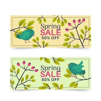 Pack of spring sale banners