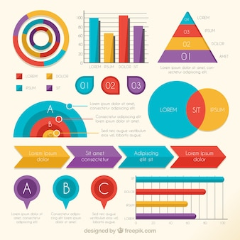 Pack of statistics and colorful diagrams