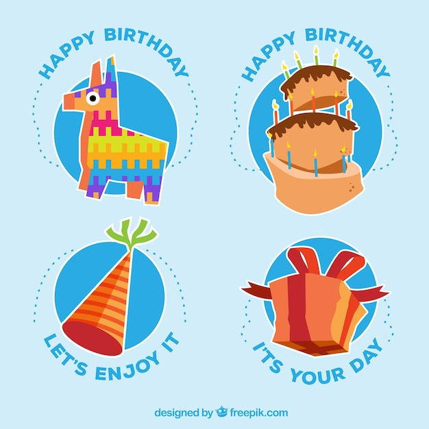 Pack of stickers with birthday celebration elements