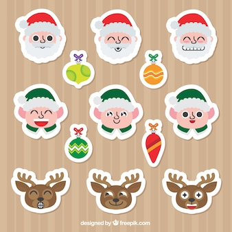 Pack of stickers with christmas characters