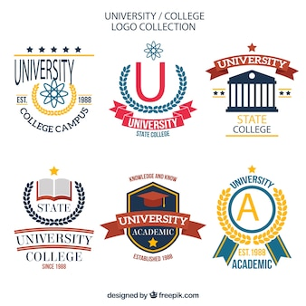 Pack of stylish college logos