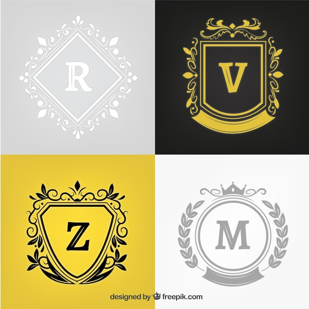 Pack of stylish crests with ornamental details