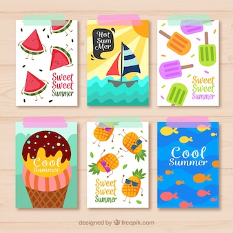 Pack of summer cards with flat items