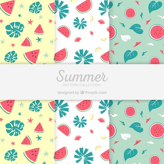 Pack of summer patterns with watermelons