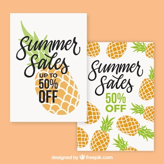 Pack of summer sale cards with pineapples