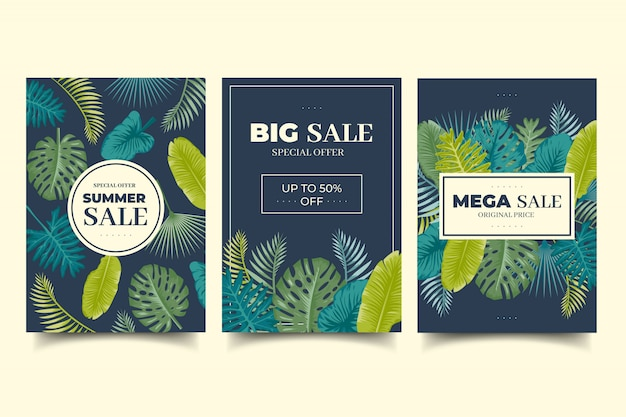 Pack of summer sale cards with tropical leaves