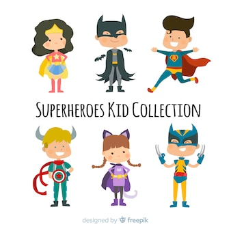 Pack of superhero kids