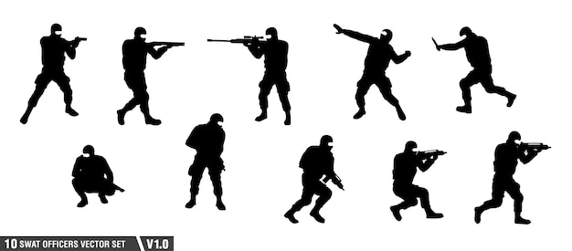 A pack of swat officers silhouette