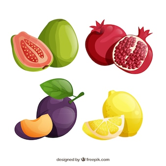 Pack of tasty fruits in realistic design