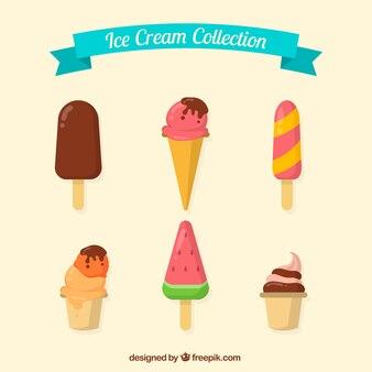 Confezione di gelati gustosi in design piatto