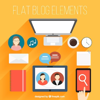 Pack of technological blog elements in flat design