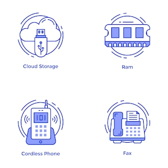 Pack of technology and hardware line icons