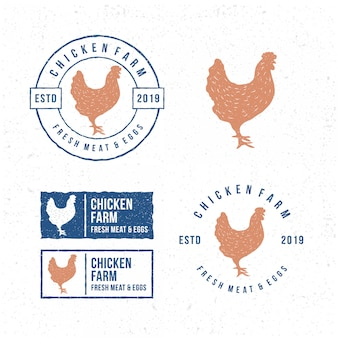 Pack of  template chicken logo.