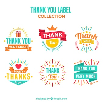Pack of thank you stickers in retro design