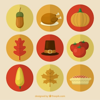 Pack of thanksgiving celebration elements