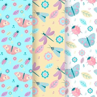 Pack of three bugs patterns