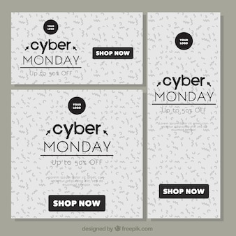 Pack of three cyber monday brochures with different sizes