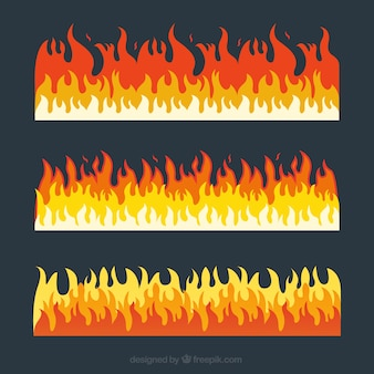 Pack of three fire borders with different colors