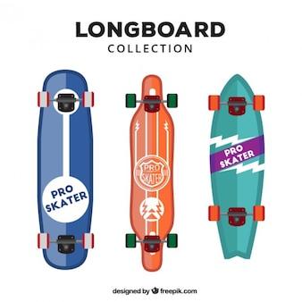 Pack of three flat modern longboards