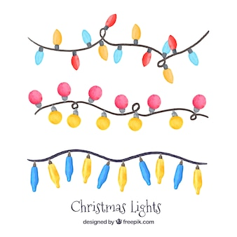 Pack of three garlands of watercolor christmas lights