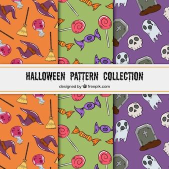 Pack of three hand drawn halloween patterns