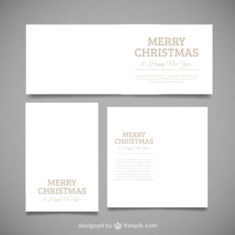 Pack of three merry christmas cards with different sizes