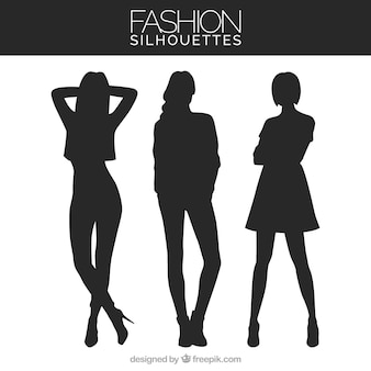 Pack of three models silhouettes