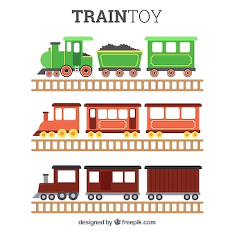 Pack of three toy trains in flat design