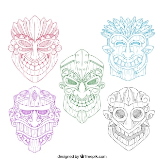 Pack of tiki masks of colors drawn by hand