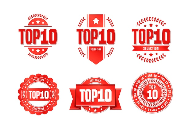 Pack of top ten badges