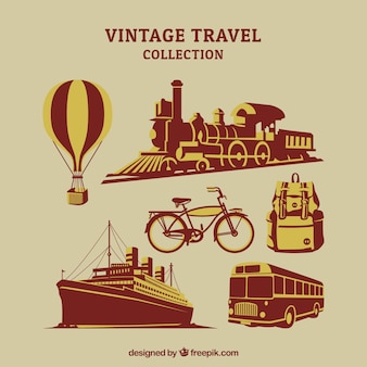 Pack of transports and other travel elements in retro style