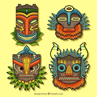 Pack of tribal masks with polynesian style