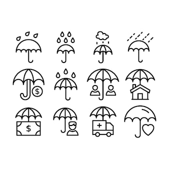 Pack of umbrellas line icons