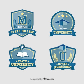 Pack of university logos in flat style