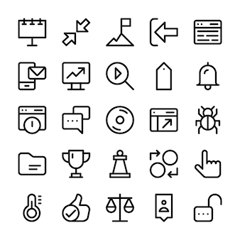 Pack of user interface line icons