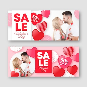 Pack of valentine's day banners with photo