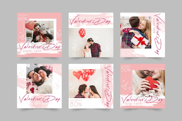 Pack of valentine's day instagram posts
