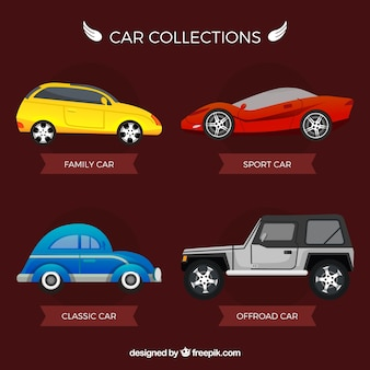 Pack of various cars types