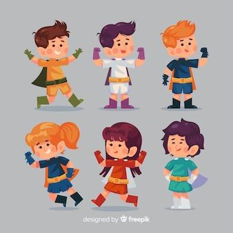 Pack of various superhero kids