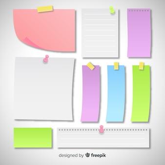 Confezione di vari tipi di note adesive in stile realistico