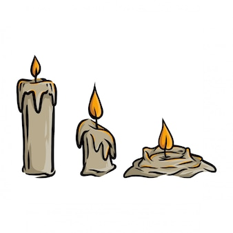 Pack of vector candle in three phase of burning