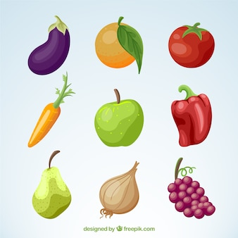 Pack of vegetables and fruits