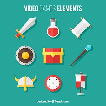 Pack of video game elements in flat design