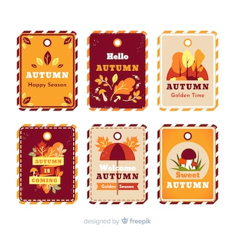 Pack of vintage autumn labels