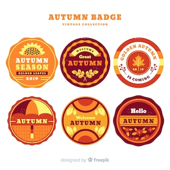 Pack of vintage autumn labels